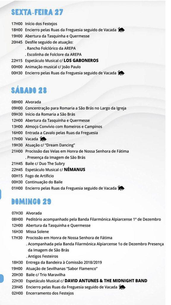 Festas da Barrosa Programa